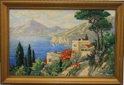 REGINALD ARTHUR, Continental Scene, possibly Capri, oil, signed, framed. 55 x 35 cm.