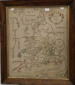 An 18th century needlework map of England and Wales, dated 1785, framed and glazed. 51.5 x 59.5 cm.