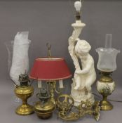 A collection of various lamps