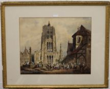 CONTINENTAL SCHOOL, Cathedral and Market Scene, watercolour, framed and glazed. 54.5 x 44 cm.