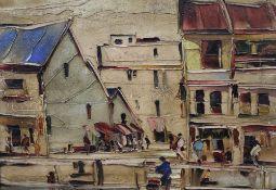 DEAKINS, Street Scene, oil on board, signed, framed. 34.5 x 33.5 cm.