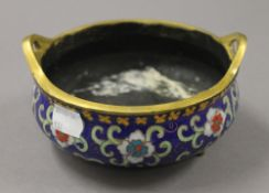 A Chinese cloisonne and bronze censer. 14.5 cm wide.