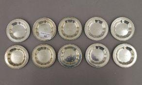 A set of ten 830 silver pin trays. Each 7 cm diameter. 5.9 troy ounces.