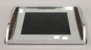 An Art Deco chrome framed glass tray. 37 cm wide.