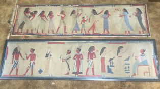 A pair of 19th century sailor's work textile panels depicting Egyptian figures.