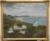 Oil on canvas laid down, Mother and Children in the Dunes, indistinctly signed, framed. 54.