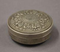 A Chinese round box. 8 cm diameter.