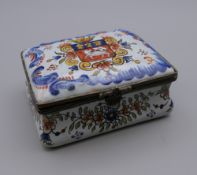 A French porcelain snuff box. 8 cm wide.
