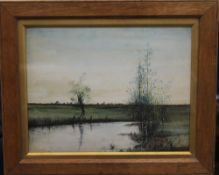 Gouache on board, Fenland Scene, signed with initials AF, framed and glazed. 28 x 22 cm.