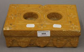 An antique goldstone marble, possibly Hindu ink stone. 23 cm wide.