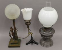 Three various table lamps.