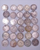 Thirty silver 3pence coins,