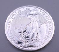 A one ounce Britannia silver 2017 coin