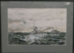 W L WYLLIE (1851-1931) British, Dropping Anchor, etching, together with a watercolour of Shipping,