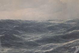 Seascape, print, framed and glazed. 86 x 52 cm.