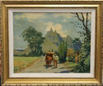 MAURICE MENARDEAU, Pieter Both Mountain in Mauritius, oil on board, signed, framed. 28.5 x 22.5 cm.