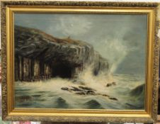 Fingal's Cave, oil, signed E L ROYLE, framed. 74 x 54 cm.
