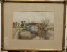 Radwell Mill, watercolour, signed V RICHARDS, framed and glazed. 33.5 x 23.5 cm.