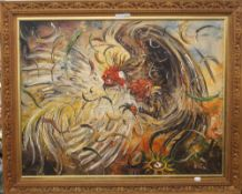 In the style of AFFANDI (1907-1990) Indonesian, Cock Fight, oil on canvas, in a carved wooden frame.