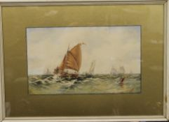 WILLIAM CALLOW (1812-1908) British, Sailboats on Sea, watercolour, signed CALLOW, framed and glazed.