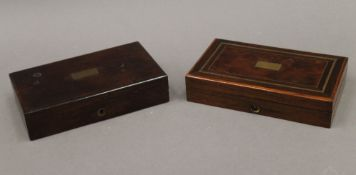 Two Victorian cased technical drawing sets. Each approximately 20.5 cm wide.