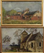 Two oils on board, Church yard and Farm Barns, the latter signed HOMERVILLE HAGUE,