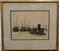 Boats on Hastings Beach, watercolour, signed E LESLIE BADHAM and dated 1933, framed and glazed.
