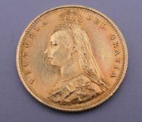 An 1887 error half sovereign, I.E.B initial imperfect J.