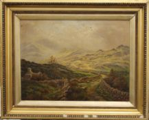 Welsh Landscape with Sheep, oil, signed FRED ROBERTSON, framed. 59.5 x 44.5 cm.