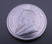 A silver one oz 2019 Krugerrand coin