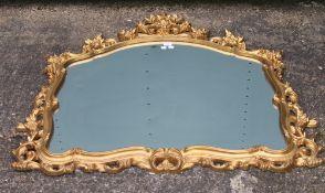 A modern decorative gilt framed mirror. 113 cm wide.