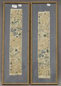 Two Chinese embroidered sleeve panels, each framed and glazed. 20.5 x 63 cm overall.