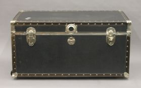 A metal studded trunk. 78.5 cm wide.