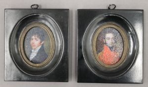 Two framed miniatures. Each 10 cm wide.