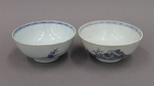Two Chinese blue and white porcelain bowls. The largest 15 cm diameter.