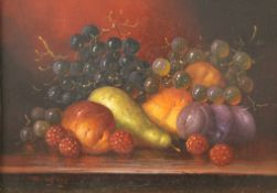 Two Still Life of Fruit, oils on panel, each indistinctly signed, each framed.
