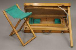 A vintage folding picnic set. 69 cm wide closed.