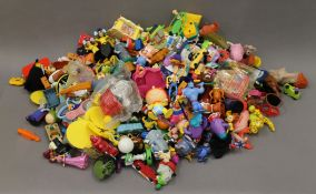 A large collection of McDonald's toys.