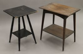 Two early 20th century oak side tables and an ebonised side table. The latter 43 cm square.