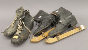 A pair of vintage fen runners and a pair of vintage rugby boots