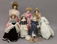 A quantity of collectors dolls