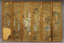 Six Chinese painted paper panels, each framed. 16 x 74 cm.