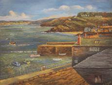 A HAYWORTH, Cornish Harbour, oil on board, framed. 54.5 x 42 cm.