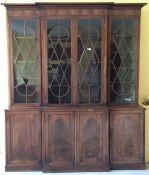 A 19th century mahogany break front bookcase. 199 cm wide. Provenance - Little Haugh Hall, Suffolk.