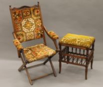 A Victorian folding chair and a stool. The former 60 cm wide.