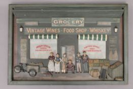 A painted wooden grocery shop sign. 75.5 x 50.5 cm.