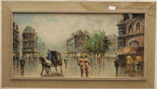 CORTESE, Paris Street Scene, oil, signed, framed. 80 x 39.5 cm.