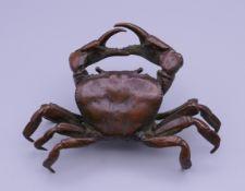 A bronze model of a crab. 10 cm wide.