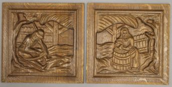 Two carved oak panels. Each 29 x 28.5 cm.