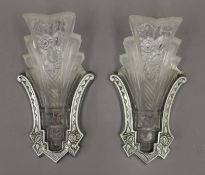 Two Art Deco glass and chrome wall lights. Each approximately 30 cm high.